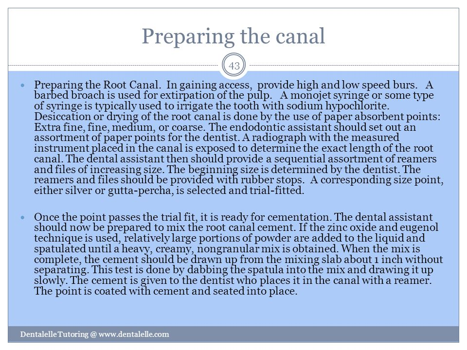Preparing the canal