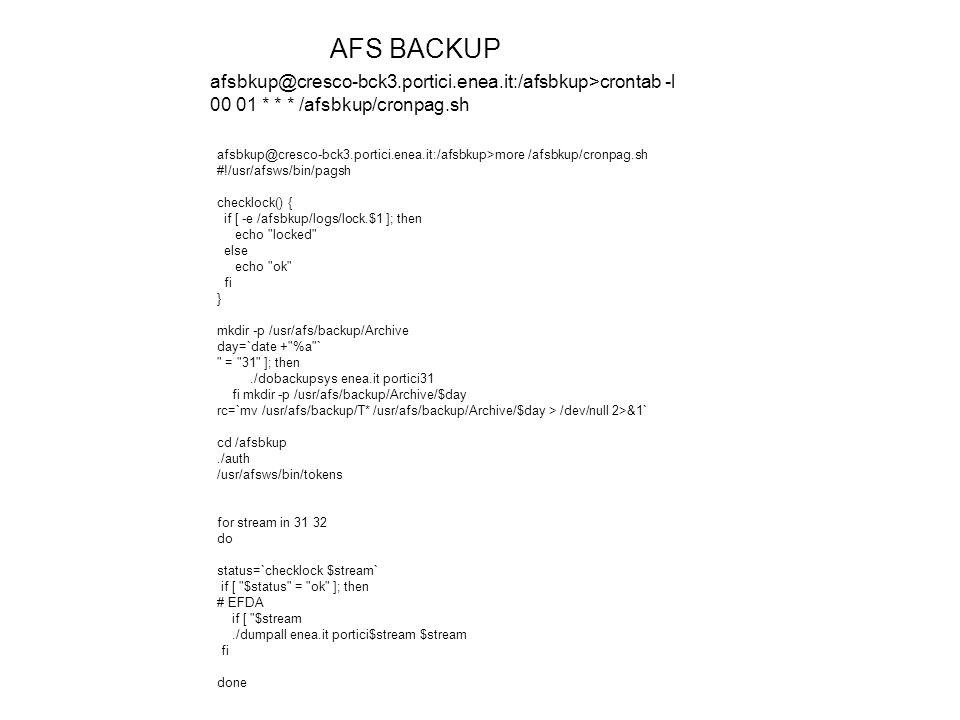 AFS BACKUP afsbkup@cresco-bck3.portici.enea.it:/afsbkup>crontab -l