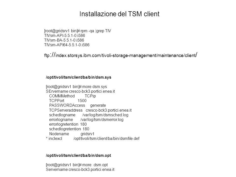 Installazione del TSM client