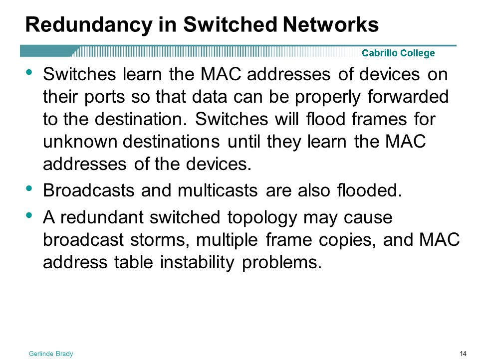 Redundancy in Switched Networks