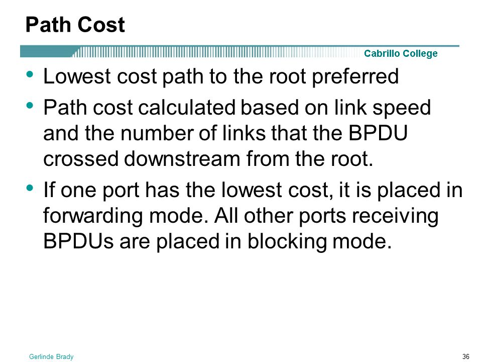 Lowest cost path to the root preferred