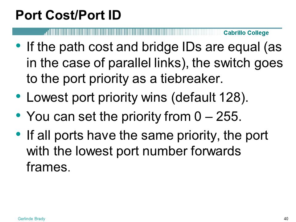Lowest port priority wins (default 128).