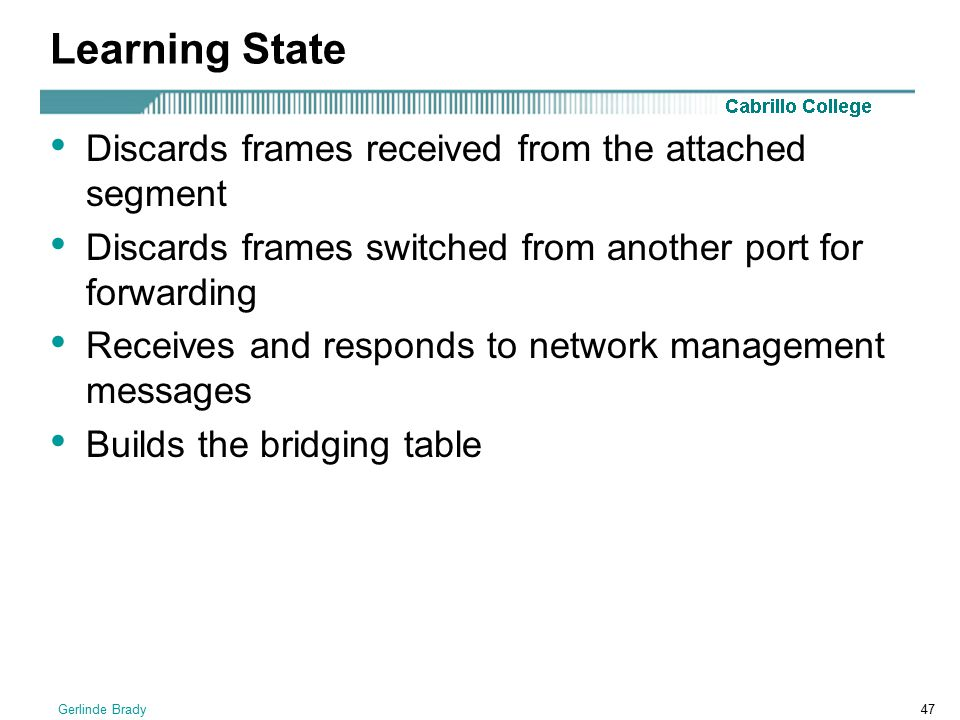 Learning State Discards frames received from the attached segment