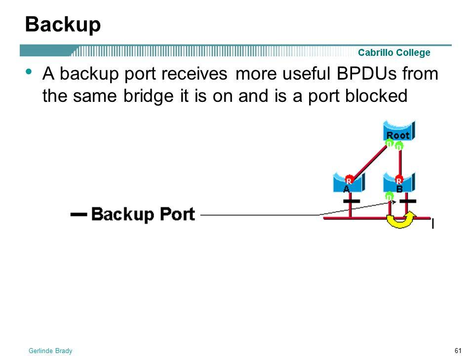 Backup A backup port receives more useful BPDUs from the same bridge it is on and is a port blocked.