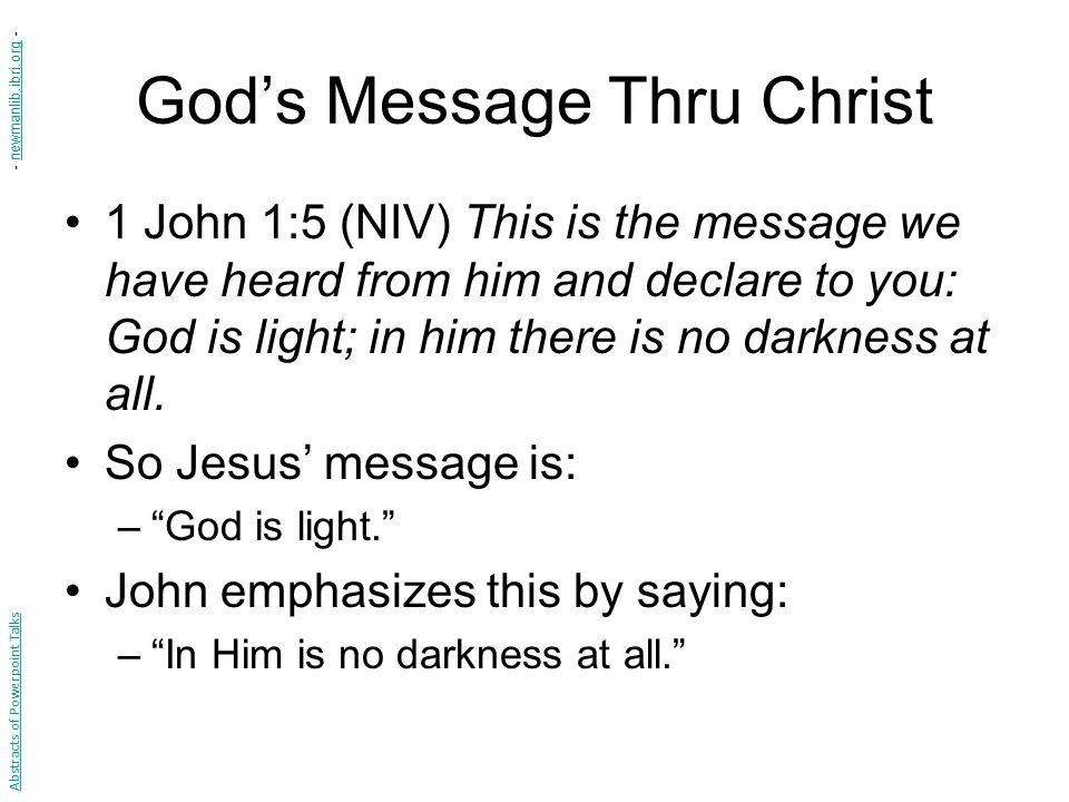 God's Message Thru Christ