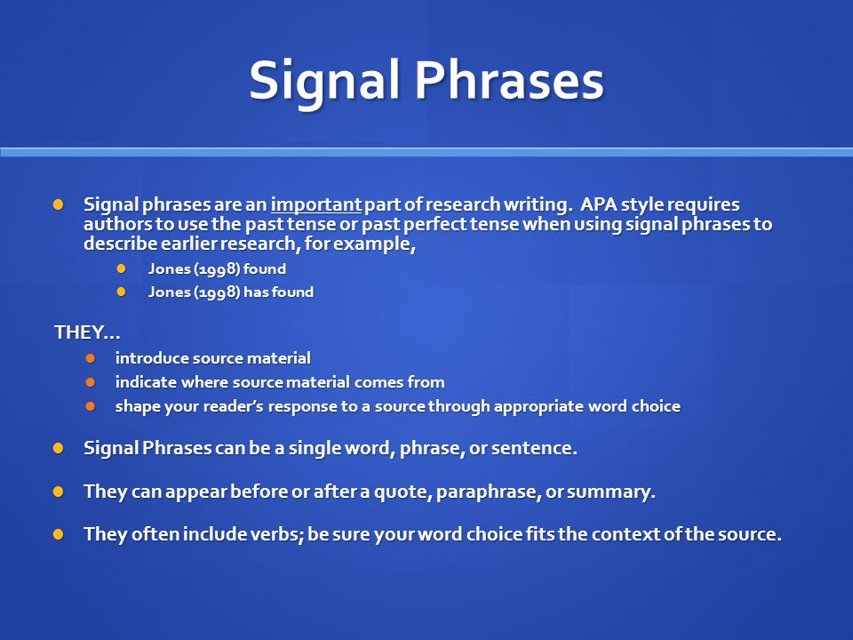 Signal Phrases in APA Style