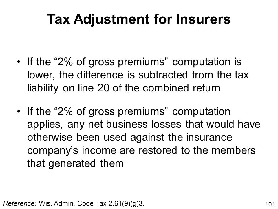 Tax Adjustment for Insurers