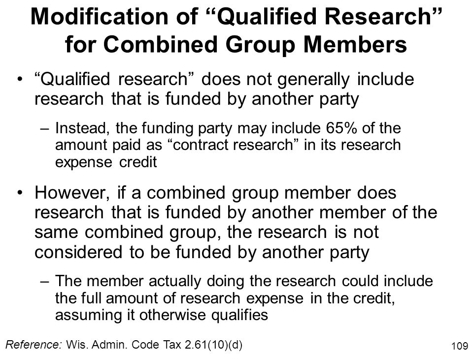 Modification of Qualified Research for Combined Group Members