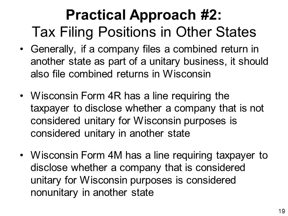 Practical Approach #2: Tax Filing Positions in Other States
