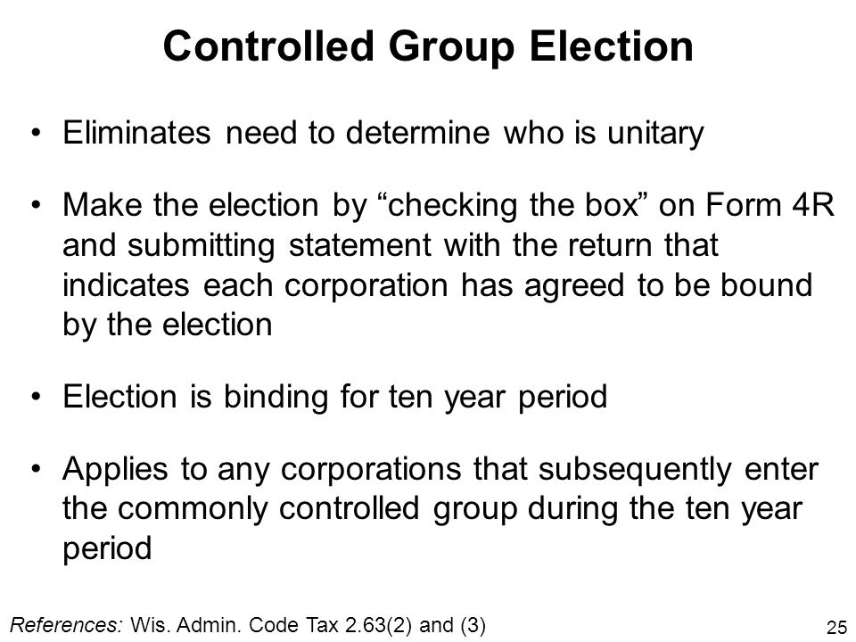 Controlled Group Election