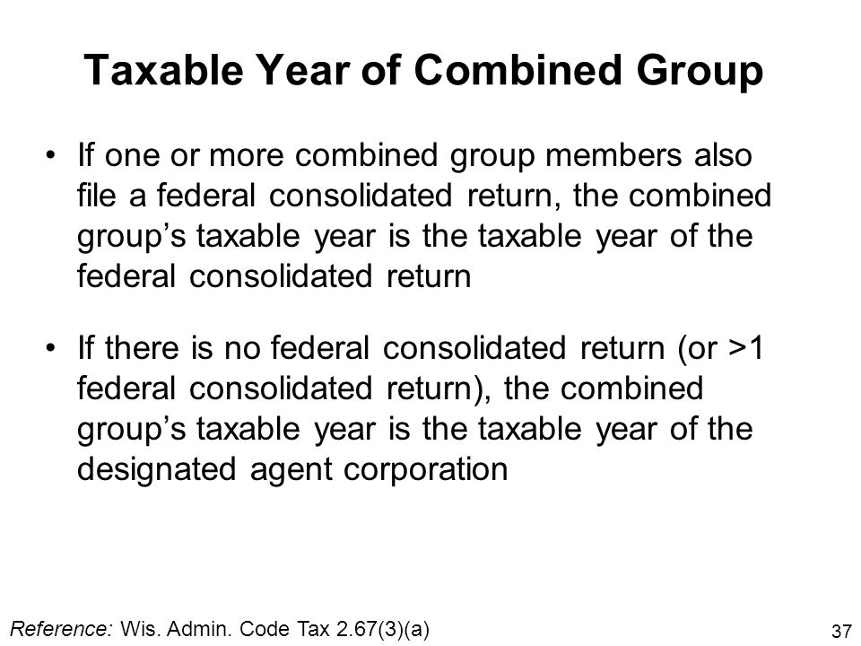 Taxable Year of Combined Group