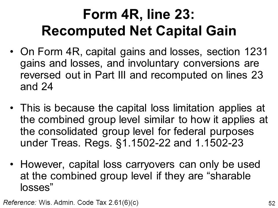 Form 4R, line 23: Recomputed Net Capital Gain