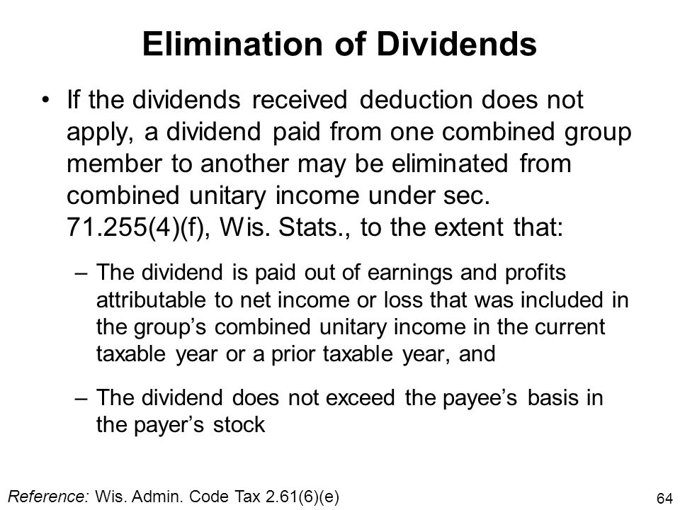 Elimination of Dividends