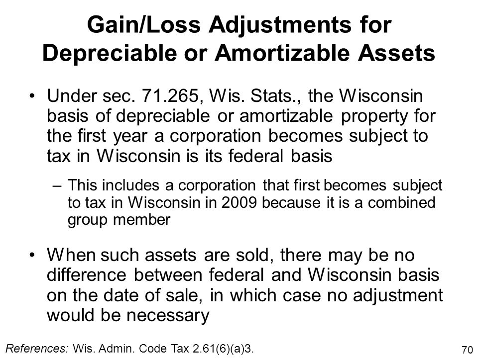 Gain/Loss Adjustments for Depreciable or Amortizable Assets