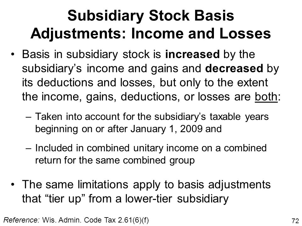 Subsidiary Stock Basis Adjustments: Income and Losses