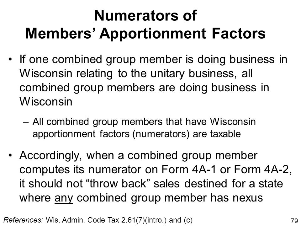 Numerators of Members' Apportionment Factors