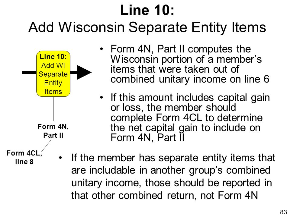 Line 10: Add Wisconsin Separate Entity Items