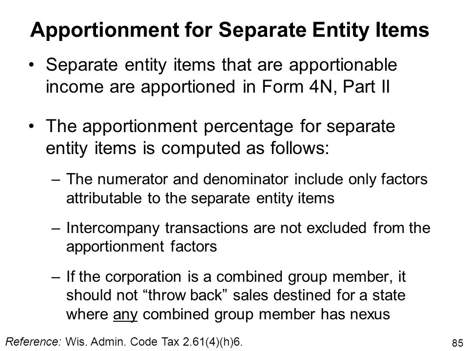 Apportionment for Separate Entity Items