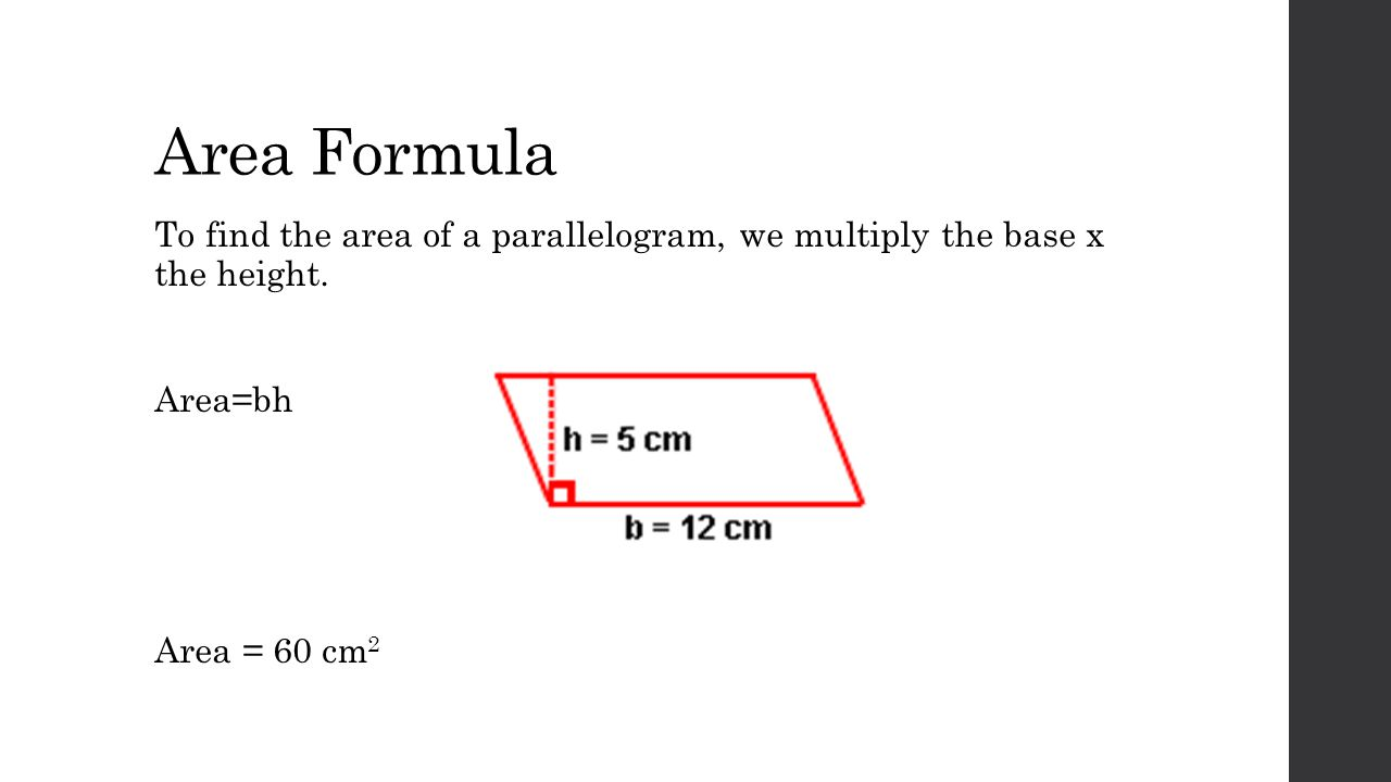 Height Of Triangles When Given The Area 8 Area Formula To Find Finding The  Area Of A Parallelogram Ppt Download How To Find