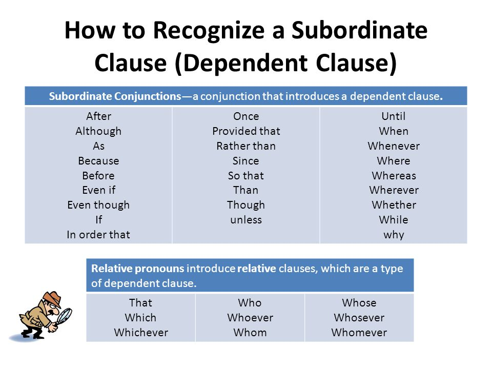 How To Recognize A Subordinate Clause (Dependent Clause) Great Ideas