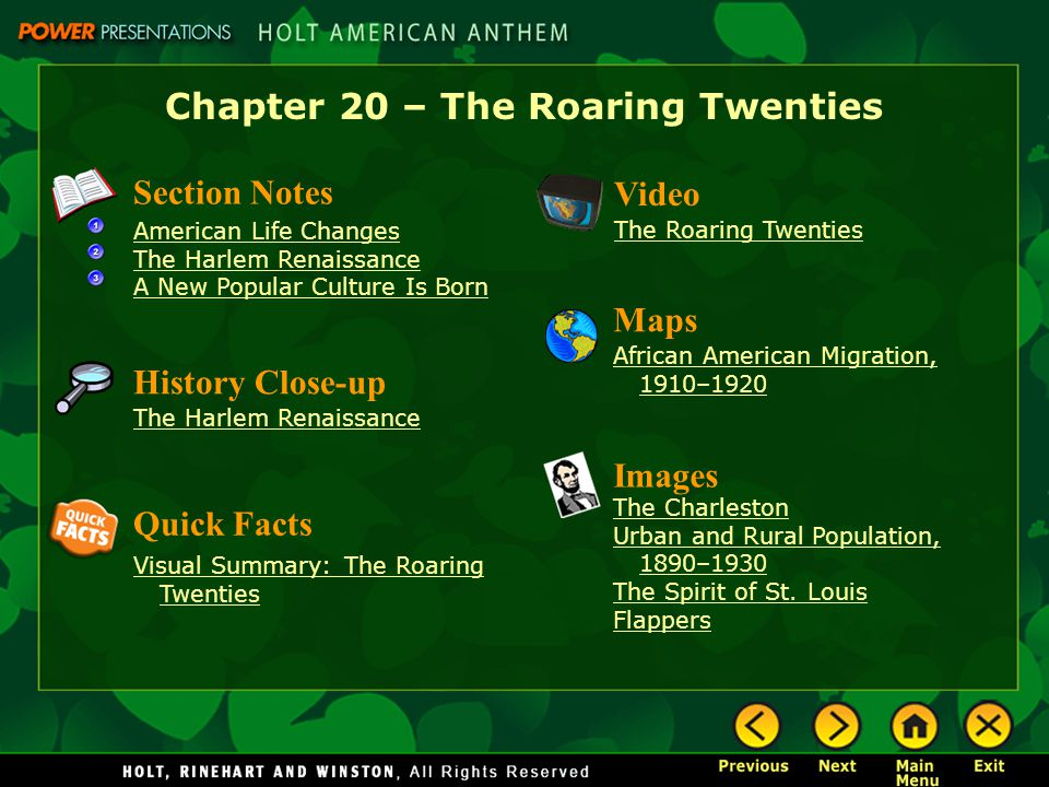 an overview of the american roaring twenties Printable version overview of the 1920s digital history id 2920 the 1920s was a decade of exciting social changes and profound cultural conflicts.
