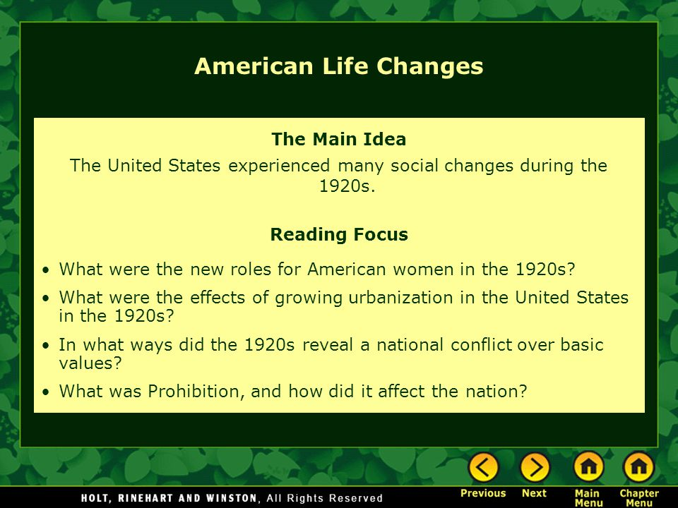 lifestyle changes in the 1920s The 1920s was a decade of new inventions this was the time directly after world war i, and when soldiers were eager to return to a more prosperous life.
