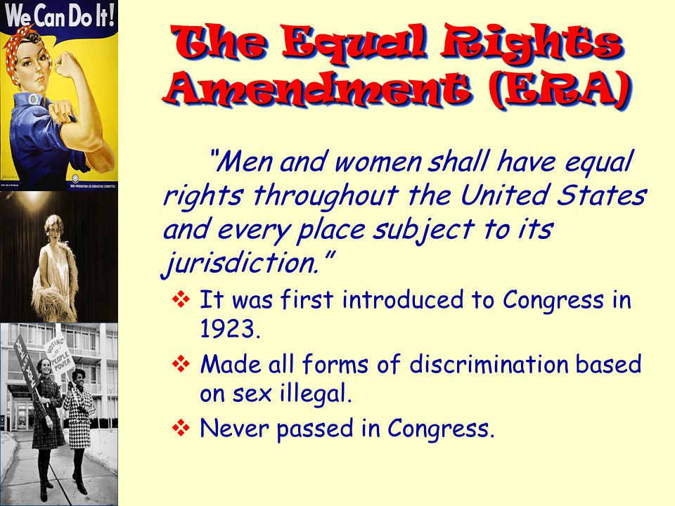 an introduction to the equal rights amendment Free equal rights amendment - introduction the 14th amendment to the amendment and the fight for equal rights in post-civil.