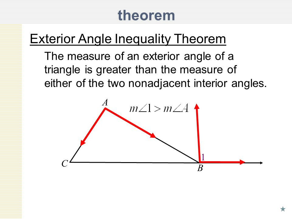 Unit 6 lesson 6 inequalities in one triangle ppt download for Exterior angle theorem