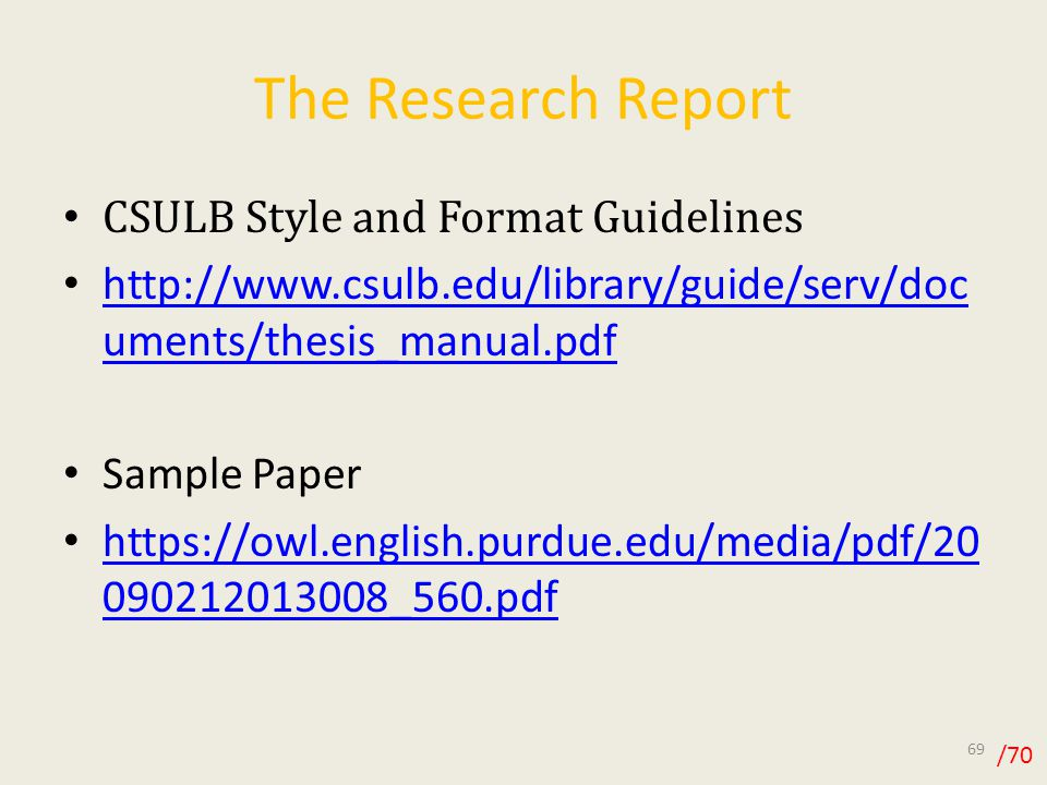Library Research Paper Sample The Research Report Csulb Style And