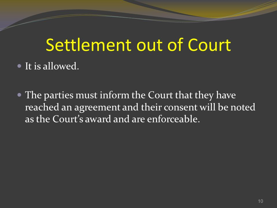 Settlement out of Court
