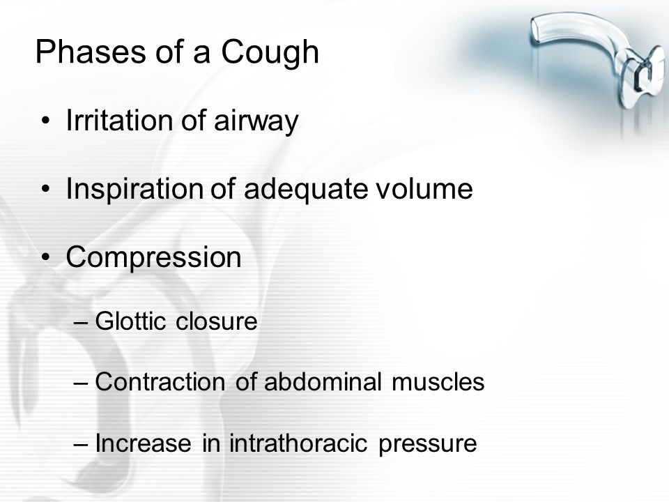 Phases of a Cough Irritation of airway Inspiration of adequate volume