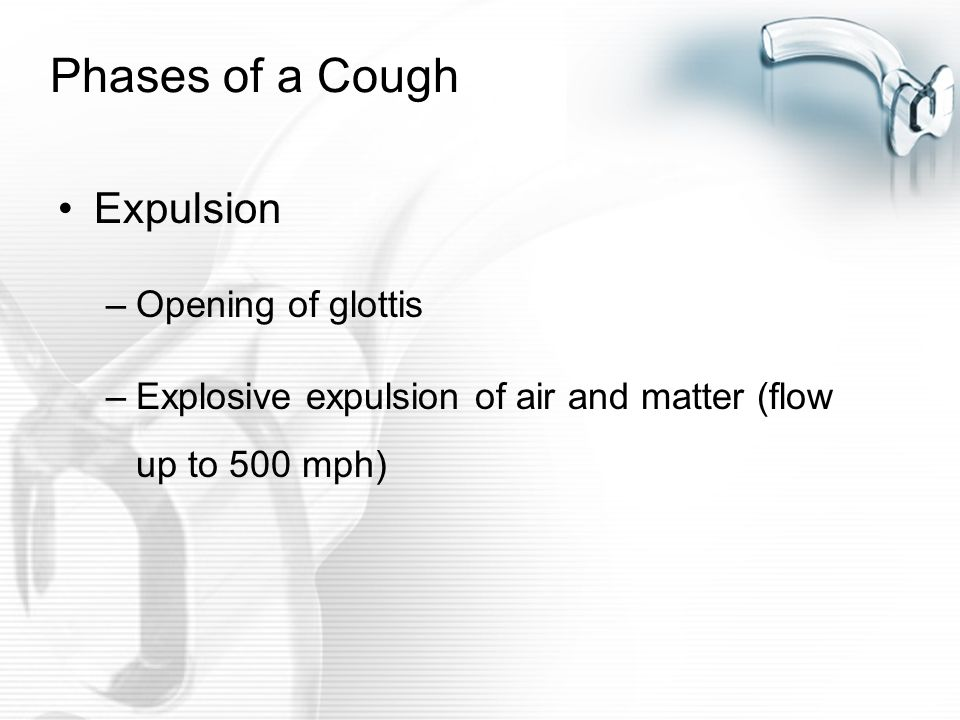Phases of a Cough Expulsion Opening of glottis