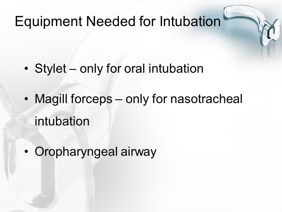 Equipment Needed for Intubation