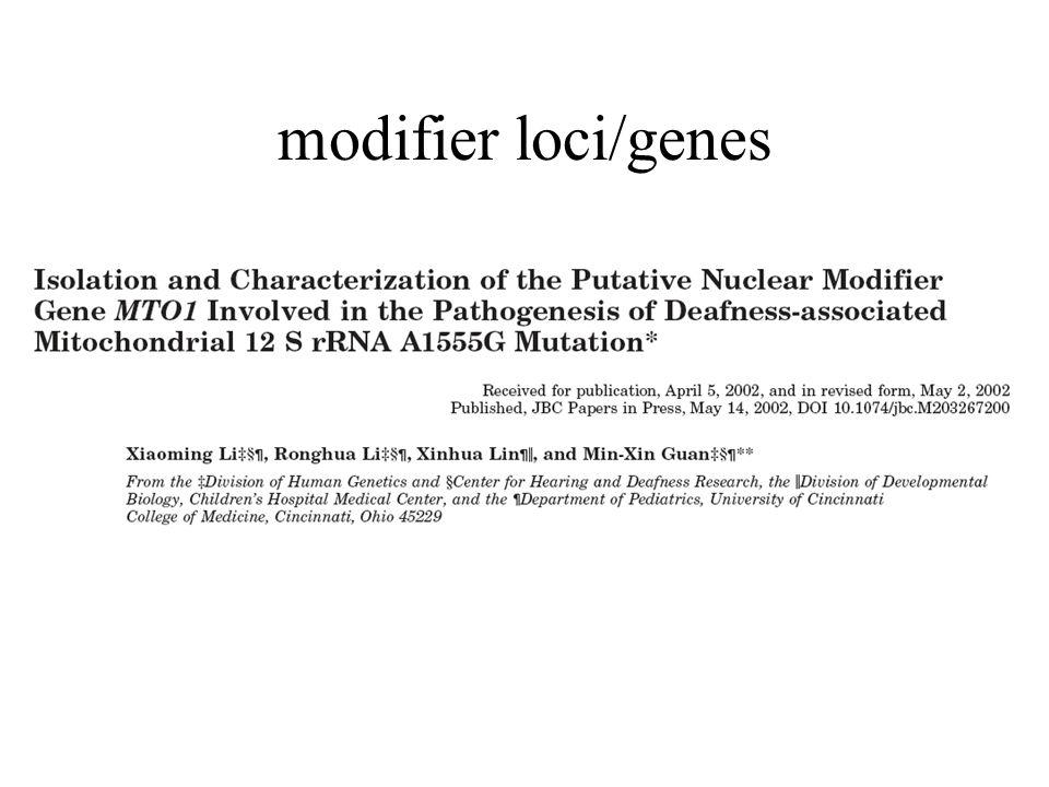 modifier loci/genes