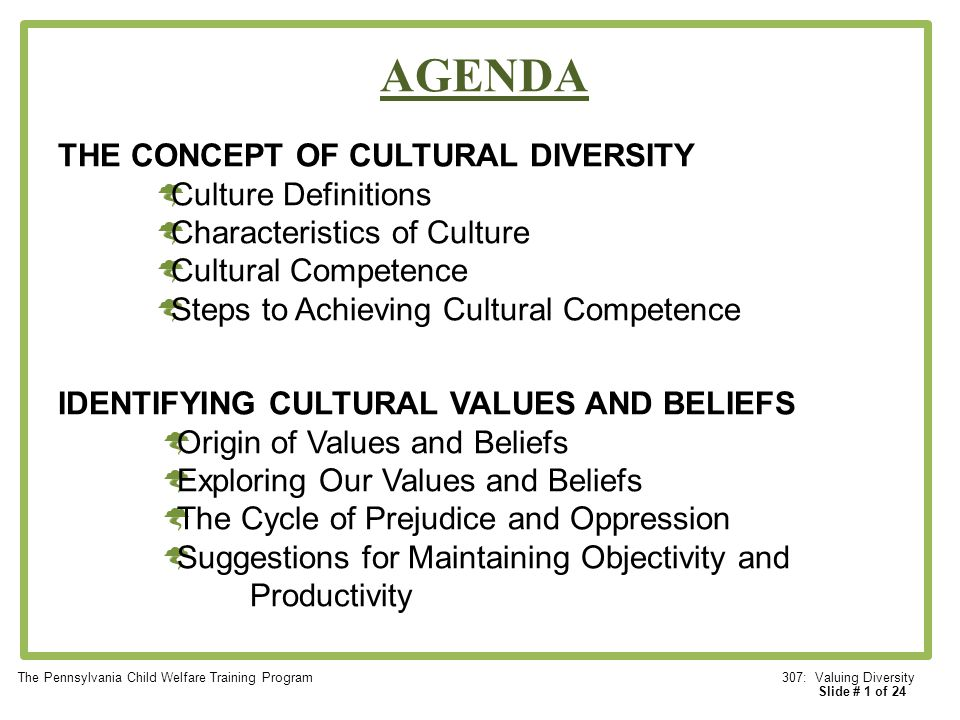 Diversity Meaning Workplace >> AGENDA THE CONCEPT OF CULTURAL DIVERSITY Culture Definitions - ppt video online download