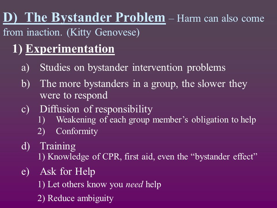 bystander effect argument The limitations of practical implications concerning the bystander effect  limitations of practical implications concerning the  argument.