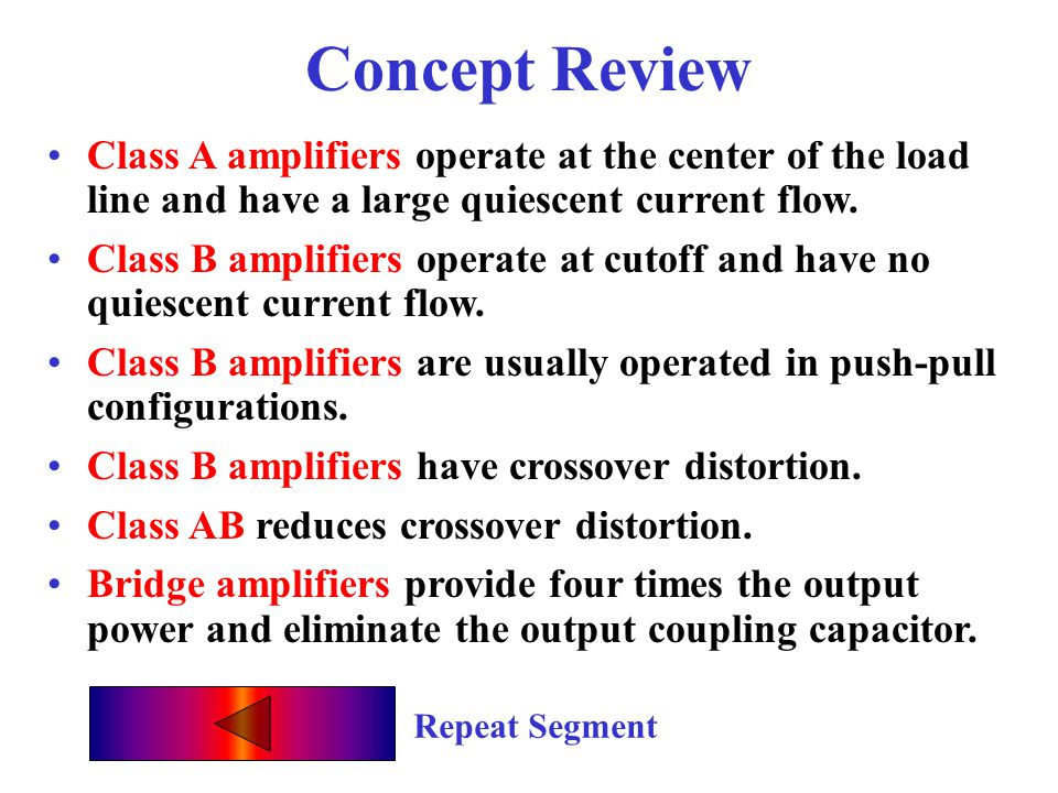 Concept Review Class A amplifiers operate at the center of the load line and have a large quiescent current flow.