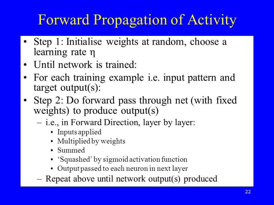 Forward Propagation of Activity