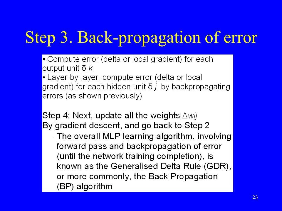 Step 3. Back-propagation of error