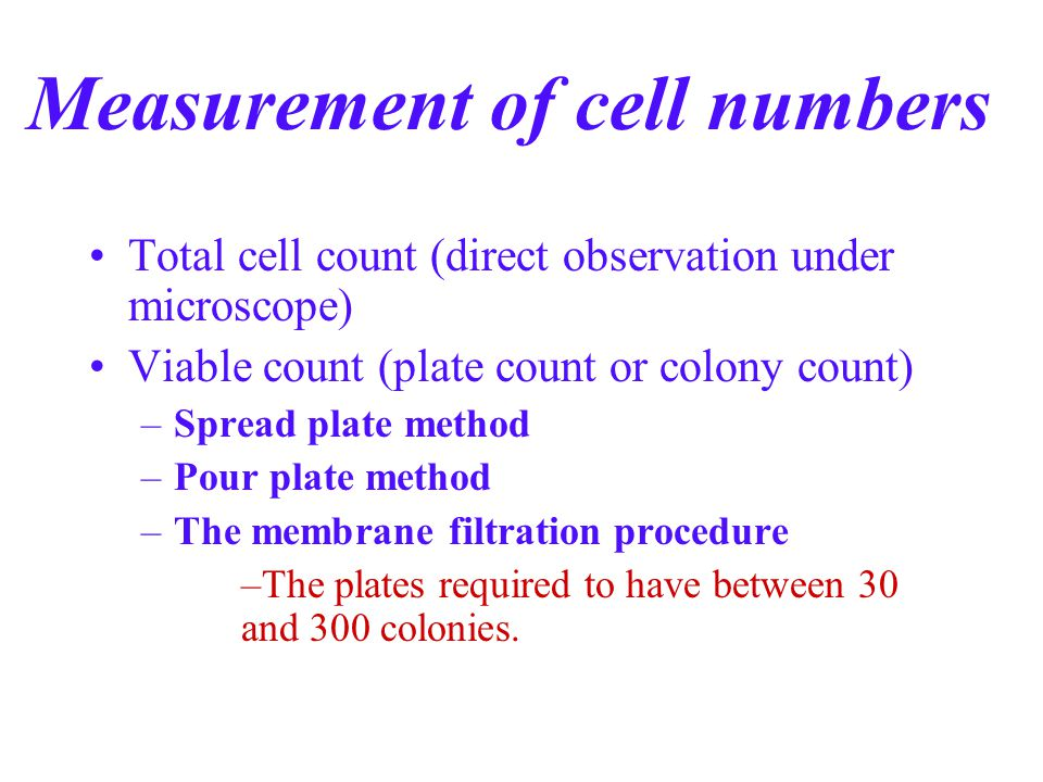 Measurement of cell numbers