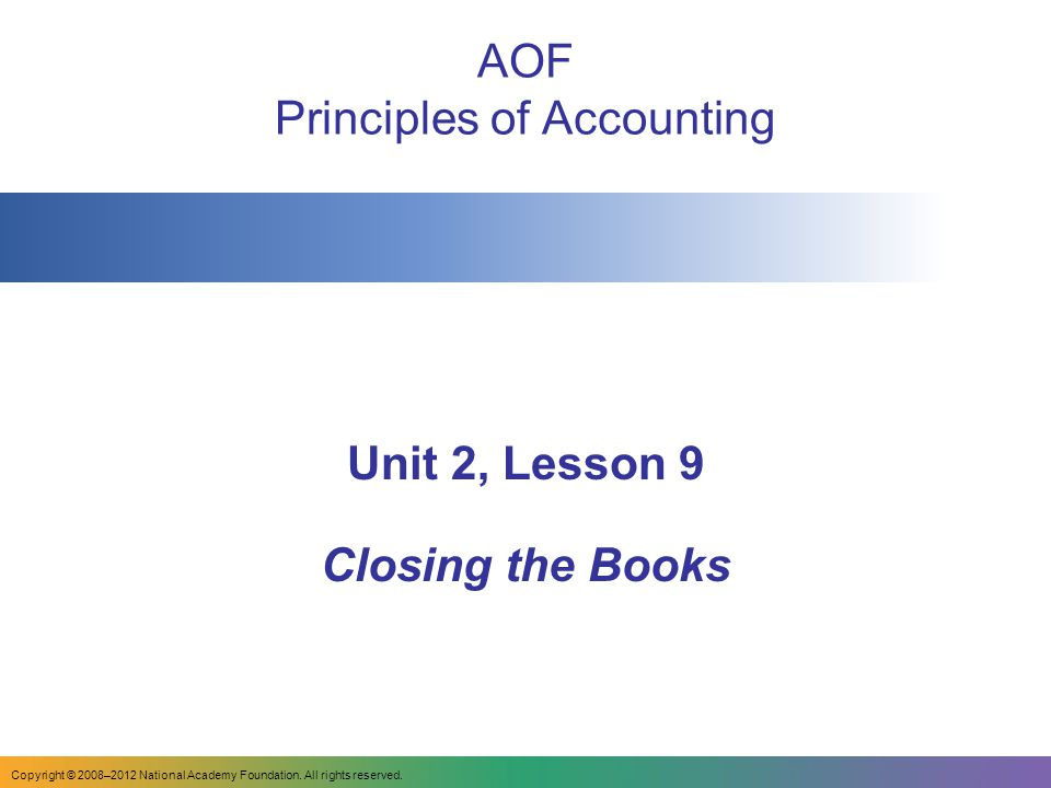 Aof: AOF Principles Of Accounting