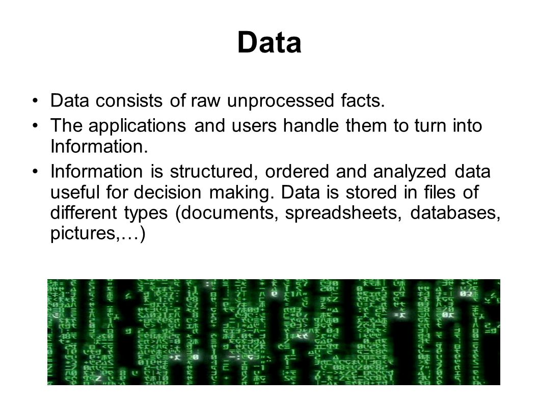 Data Data consists of raw unprocessed facts.