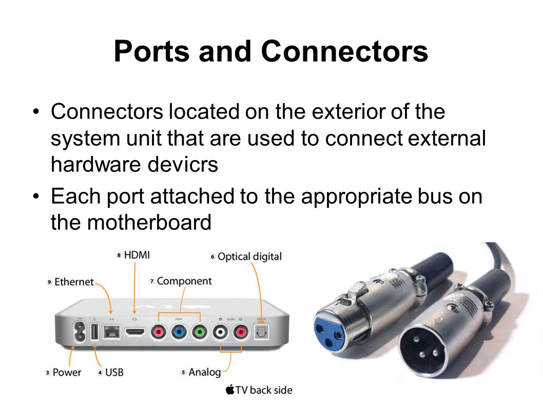 Ports and Connectors Connectors located on the exterior of the system unit that are used to connect external hardware devicrs.