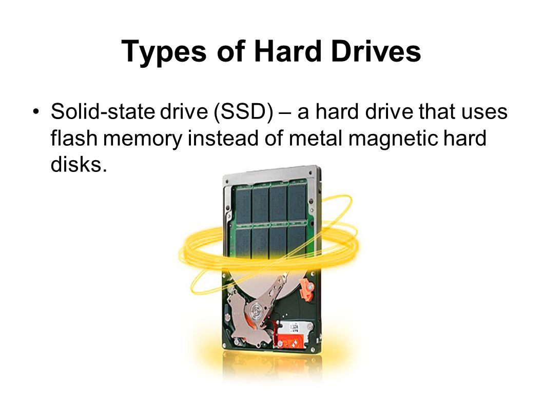 Types of Hard Drives Solid-state drive (SSD) – a hard drive that uses flash memory instead of metal magnetic hard disks.