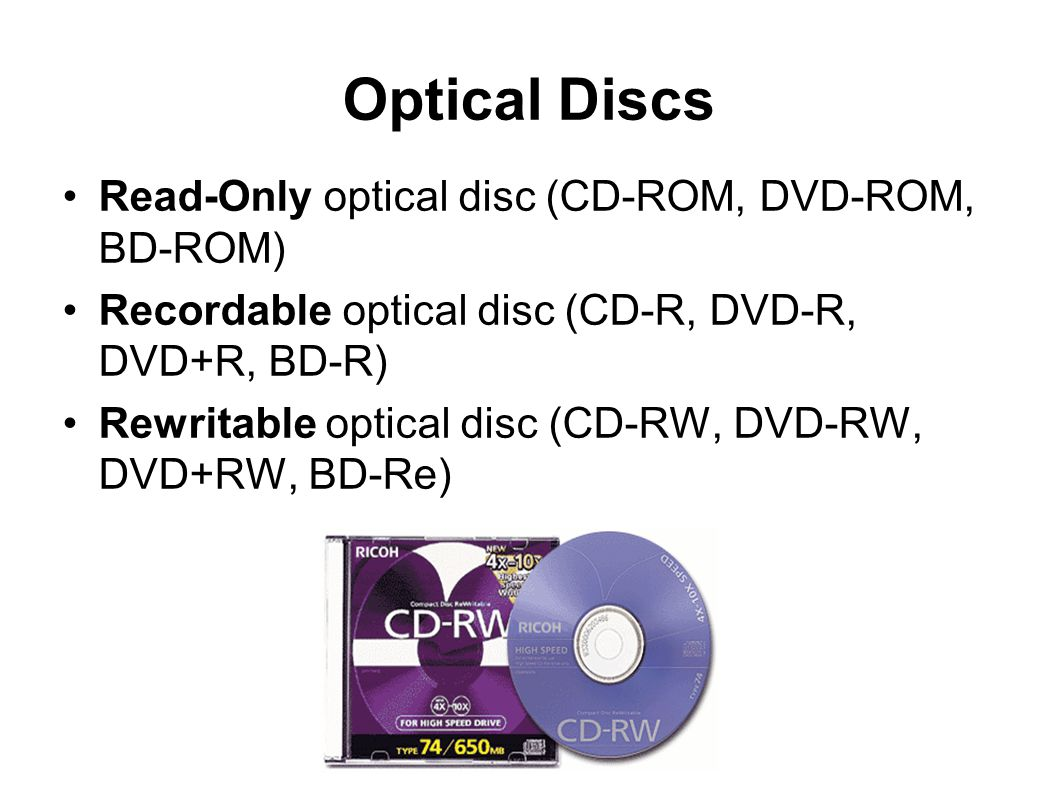 Optical Discs Read-Only optical disc (CD-ROM, DVD-ROM, BD-ROM)