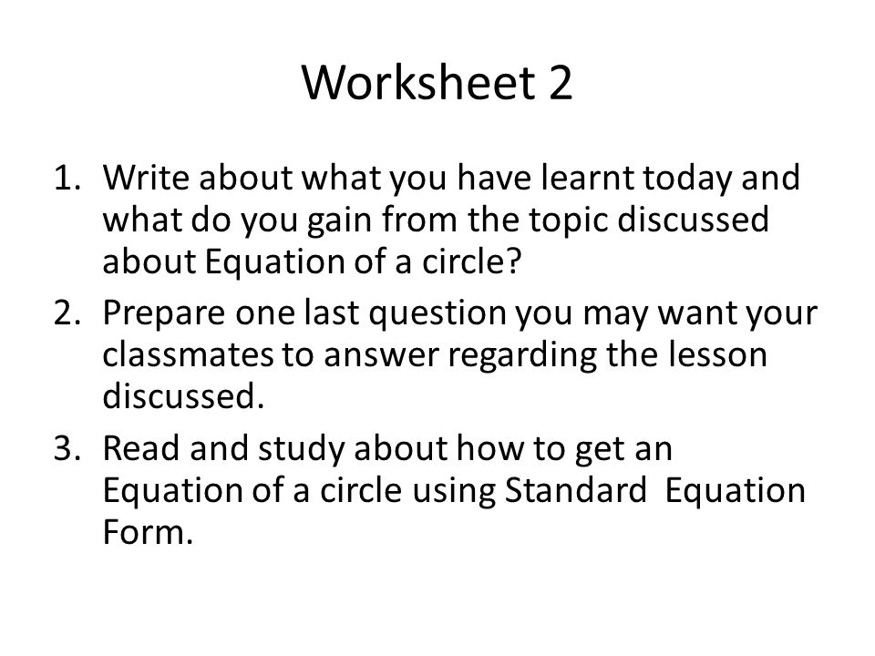 Presented by Herminia R Miralles Ismael Mathay Sr High School – Circle Equation Worksheet