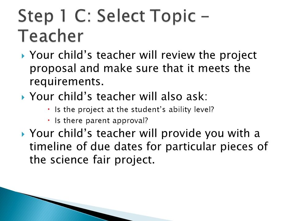 Step 1 C: Select Topic - Teacher