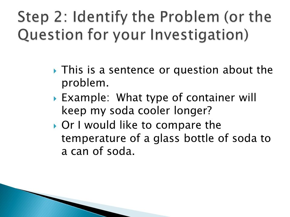 Step 2: Identify the Problem (or the Question for your Investigation)