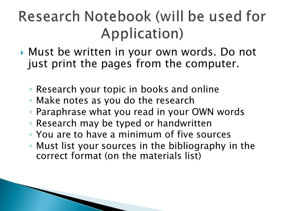 Research Notebook (will be used for Application)