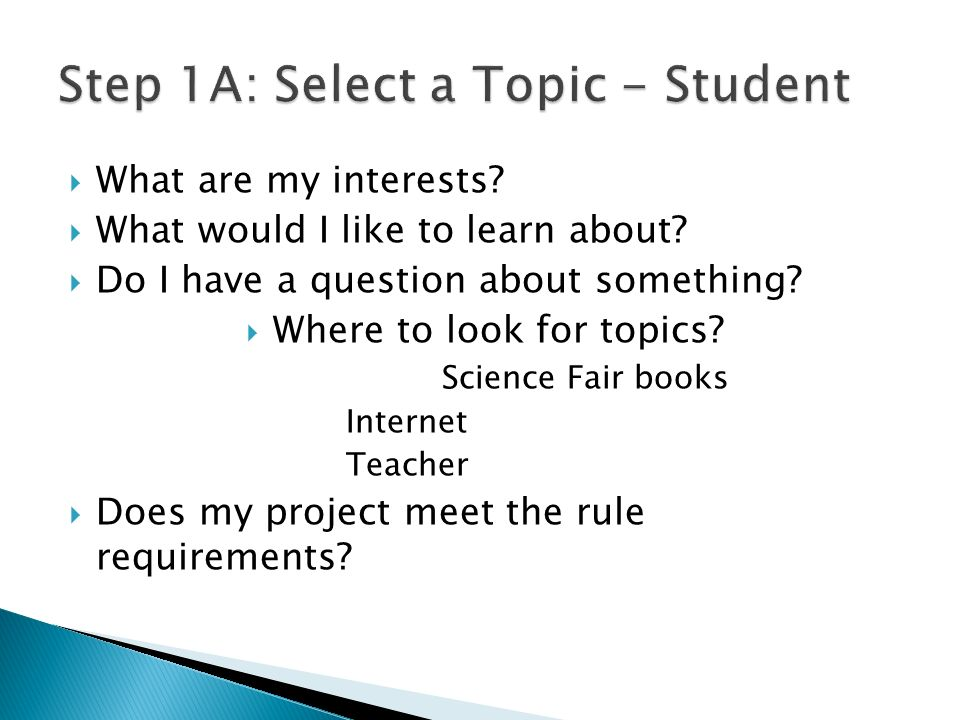 Step 1A: Select a Topic - Student